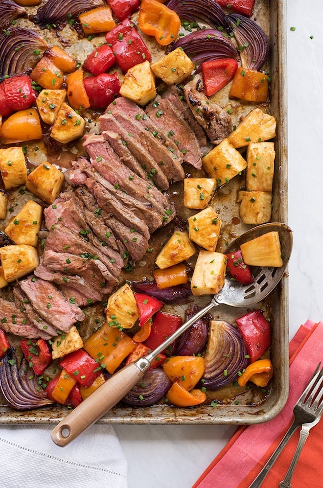 image of gluten-free sheet pan recipe featuring hawaiian steak, pineapple and peppers