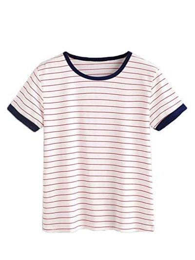 MAKEMECHIC Striped Crewneck Tee