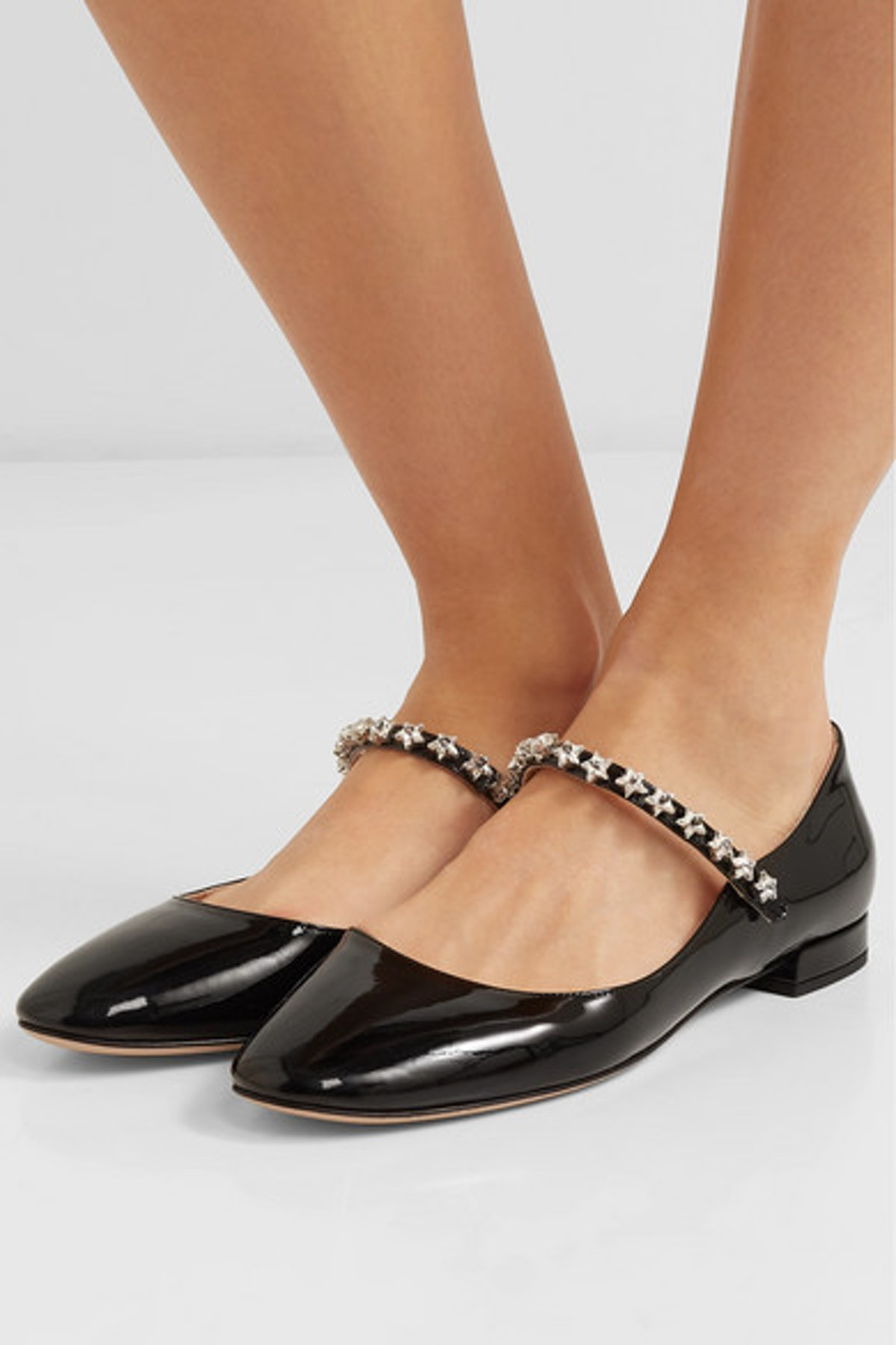 Crystal-Embellished Patent-Leather Mary Jane Ballet Flats