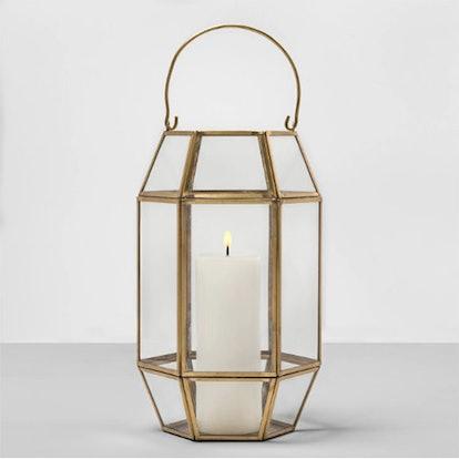 Hexagon Outdoor Lantern Gold Frame