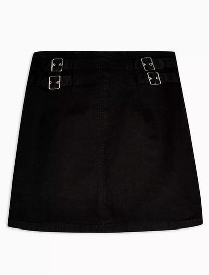 Mini Buckle Denim Mini Skirt