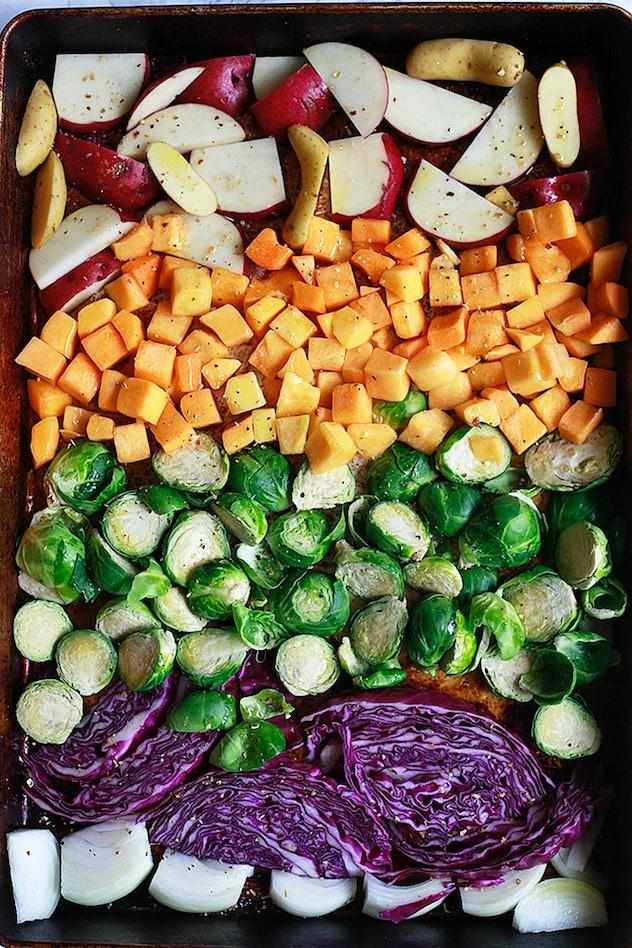 "image of gluten-free sheet pan recipe for a veggie ""Buddha Bowl"" with tahini"