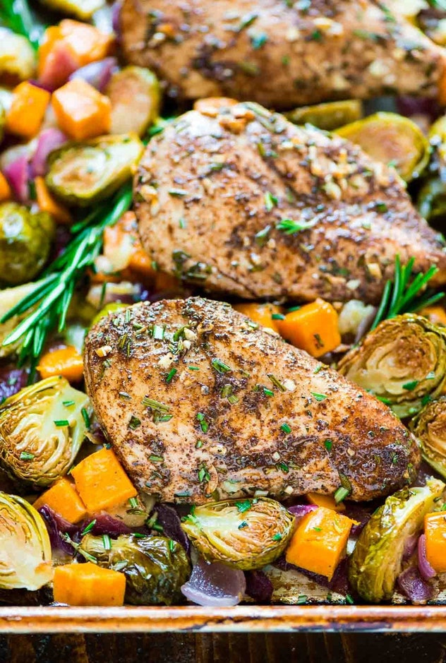 image of gluten-free sheet pan recipe with chicken sweet potatoes apples and brussel sprouts