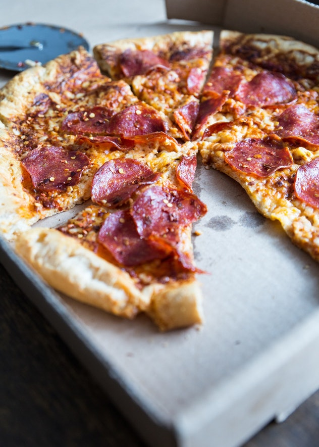 image of gluten-free sheet pan recipe, paleo pizza with gluten-free crust and pepperoni