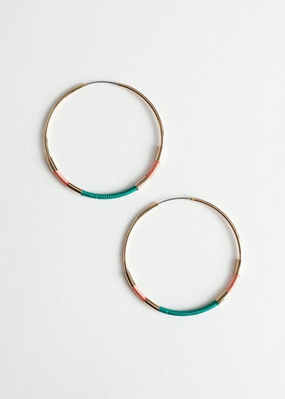 Multicoloured Woven Hoop Earrings