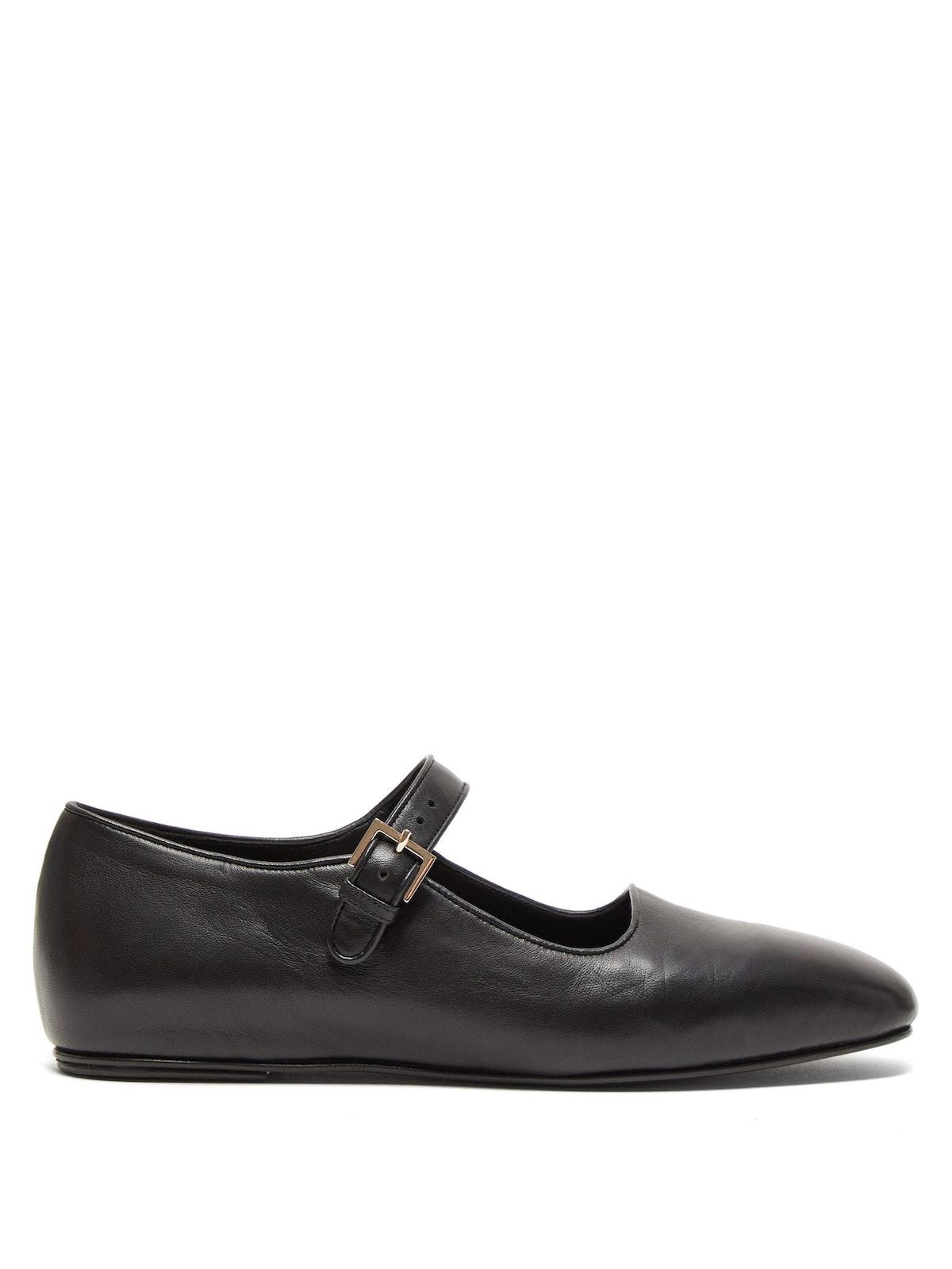 Ava Square-Toe Leather Mary-Jane Flats