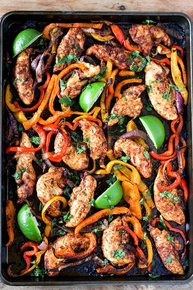 image of gluten-free sheet pan recipe with chicken, peppers and limes, roasted together
