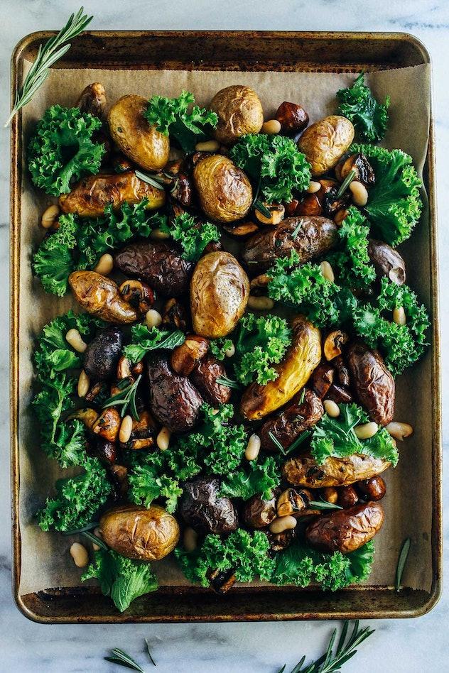 image of gluten-free sheet pan recipe with potatoes, mushrooms, white beans, and kale