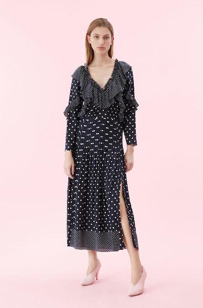 Dot Print Ruffle Dress