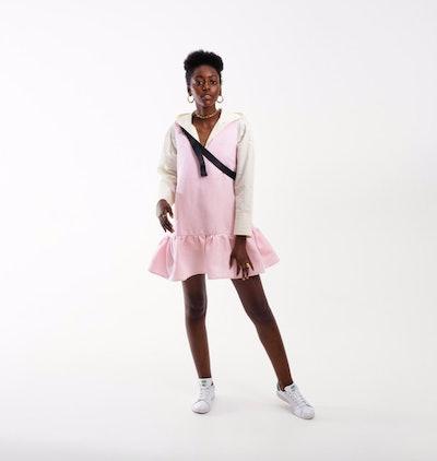 Linen V-Neck Ruffle Dress