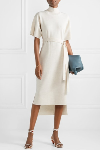 Belted Stretch-Wool Turtleneck Midi Dress