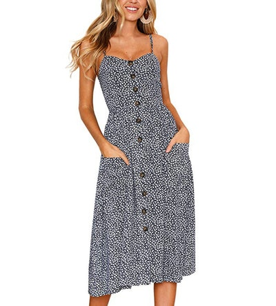 Angashion Button-Down Midi Dress