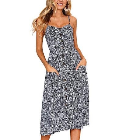 Angashion Button-Down Midi Dress