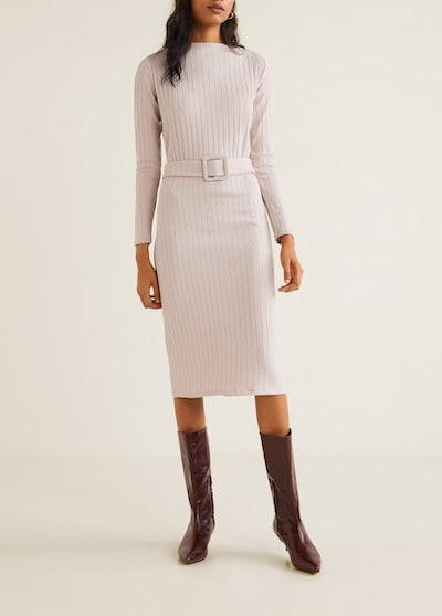 Belt Ribbed Dress