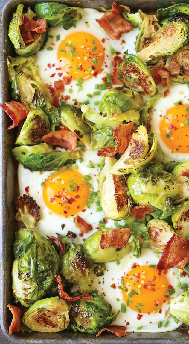 image of gluten free sheet pan breakfast, eggs, bacon and brussel sprouts