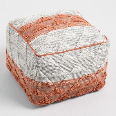 Orange Woven Triangle Indoor Outdoor Pouf
