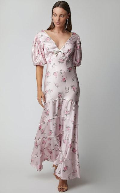 Lilia Cutout Floral Silk Maxi