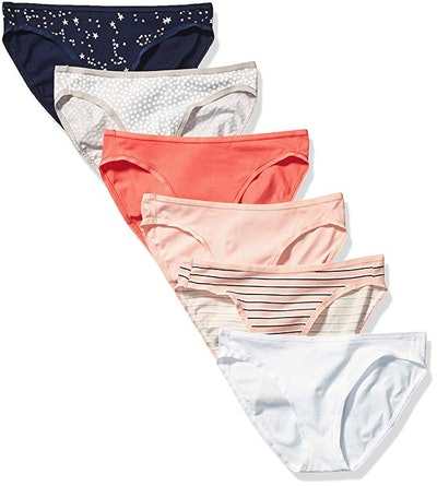 Amazon Essentials Women's Cotton Stretch Bikini Panty (6-Pack)