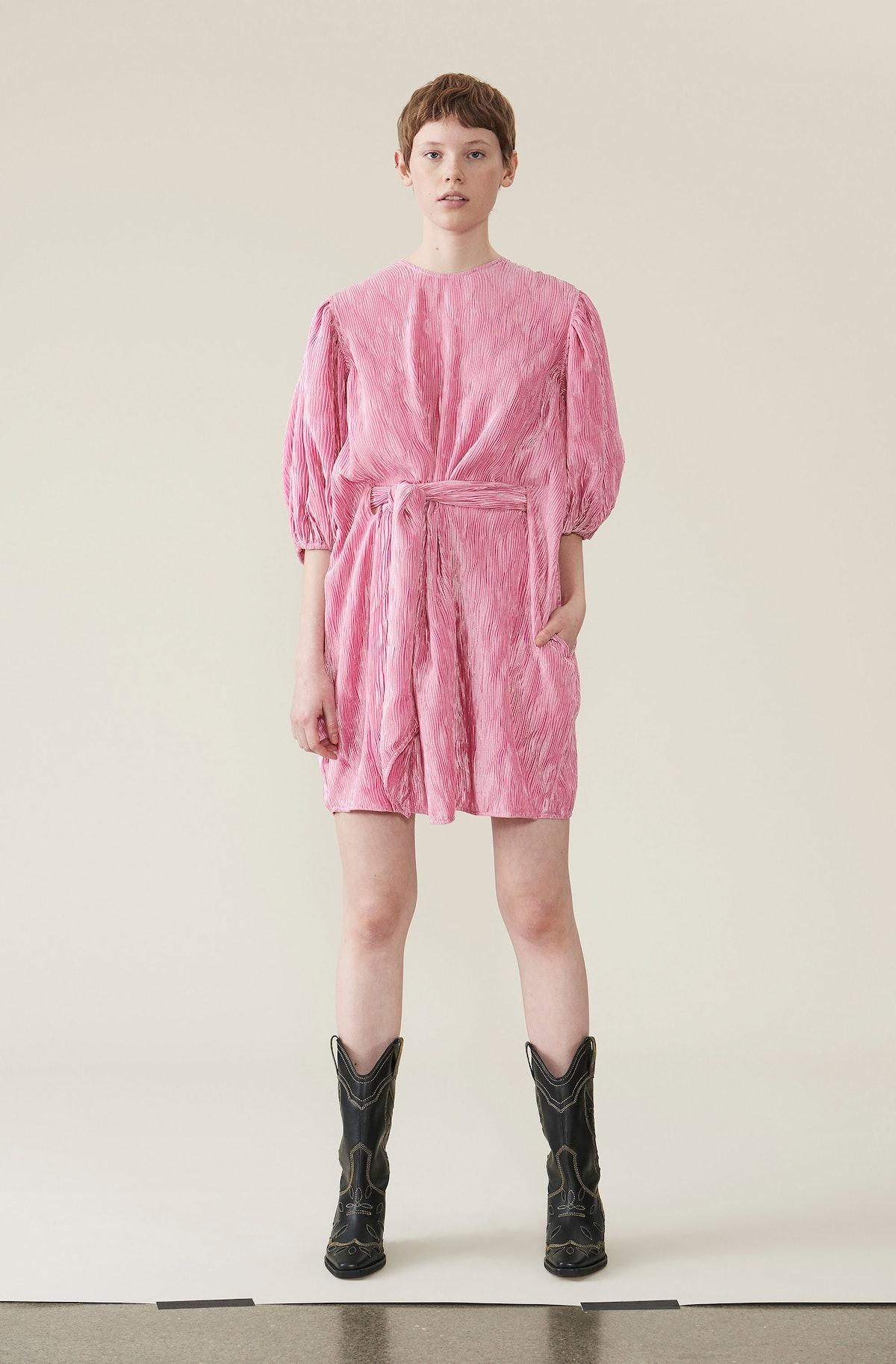 Pleated Satin Wide Dress