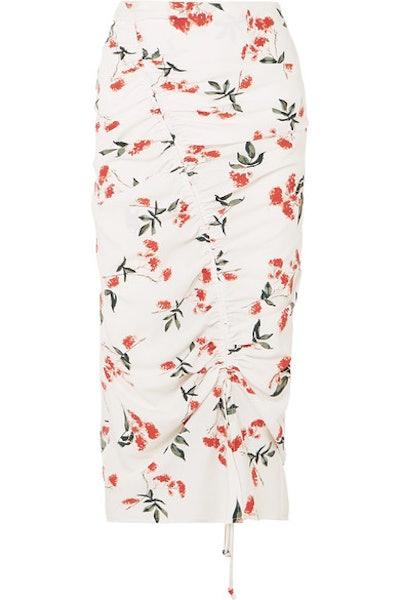 Sisilia Ruched Floral-Print Crepe De Chine Midi Skirt