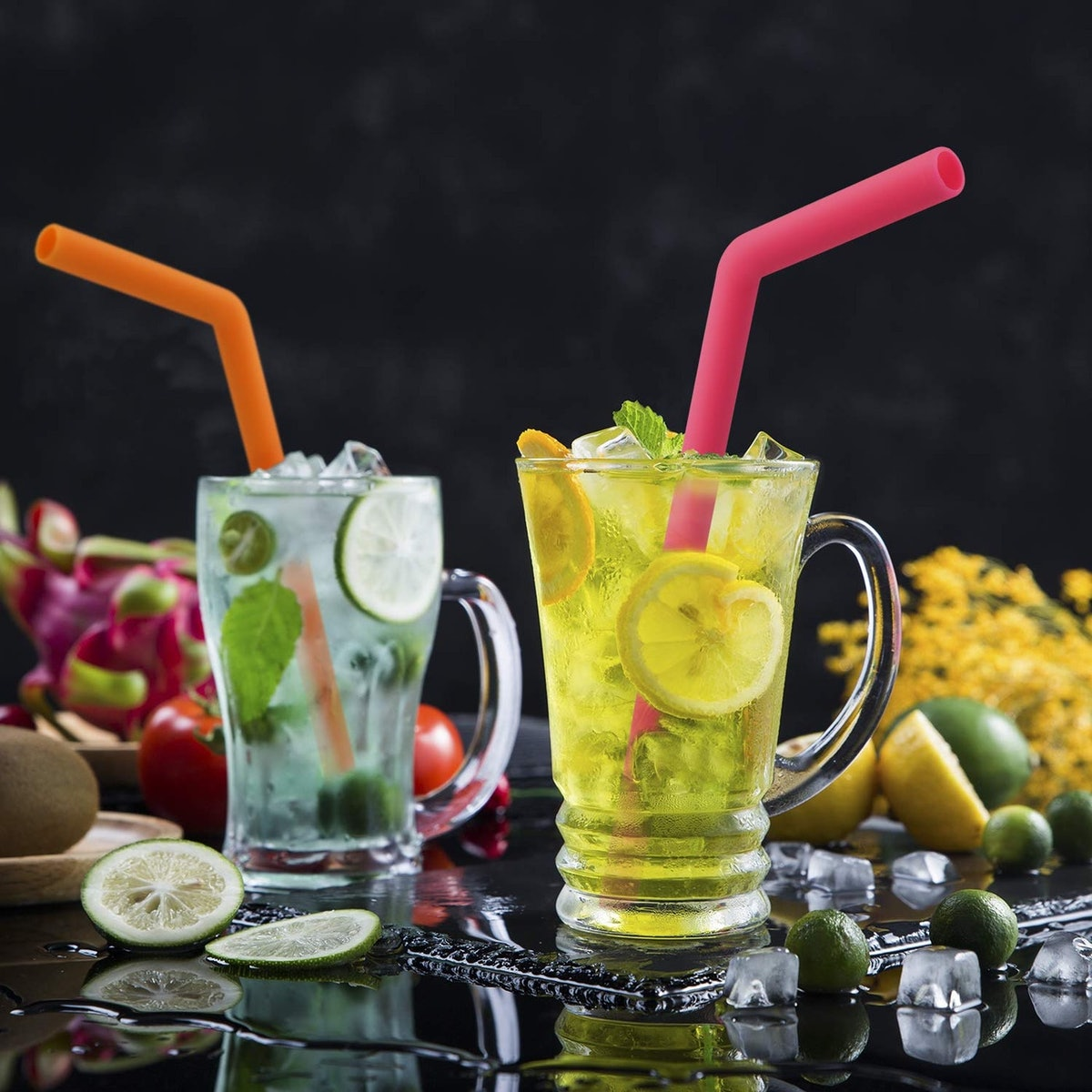Hiware Reusable Silicone Drinking Straws
