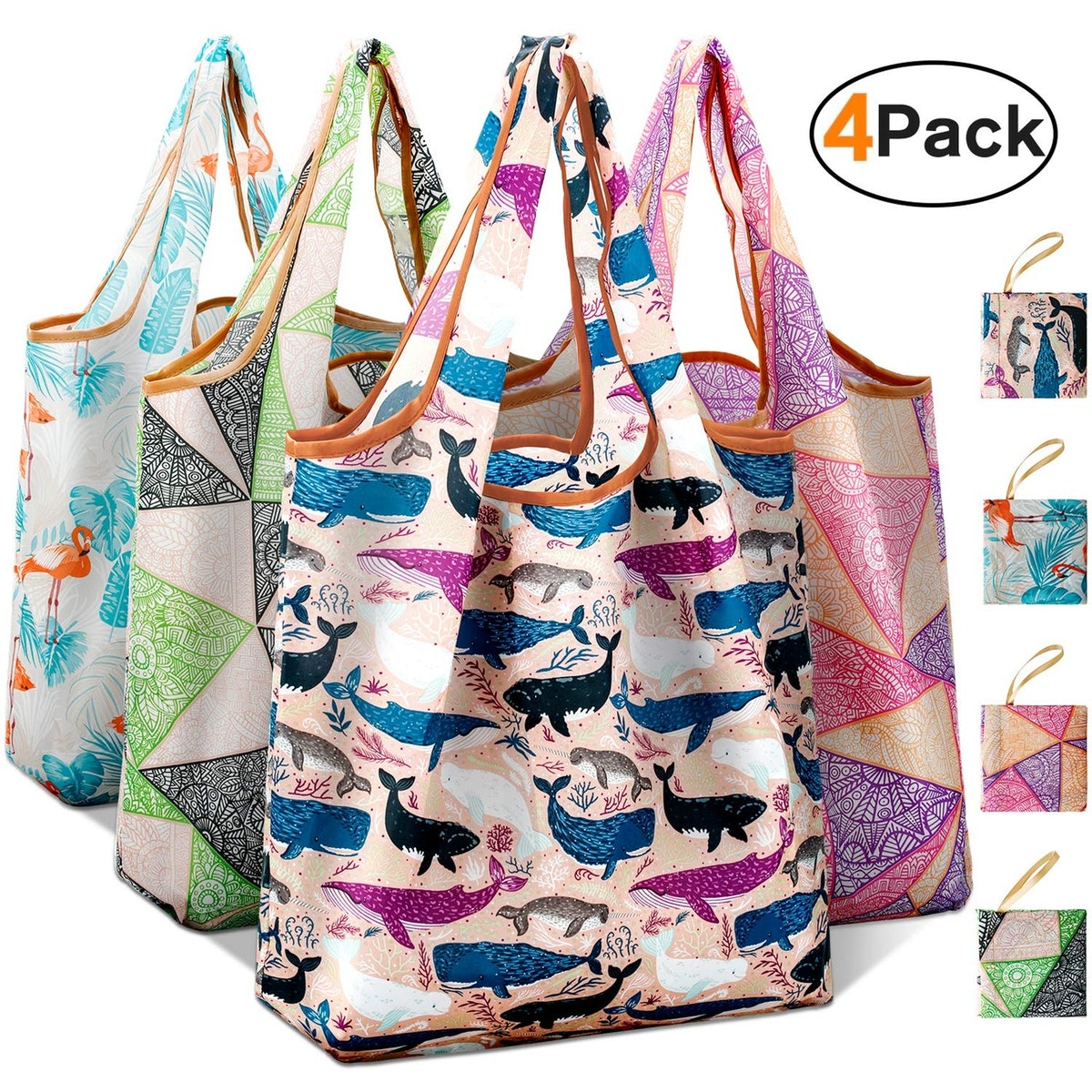 iFAVO Reusable Grocery Bags (4-Pack)