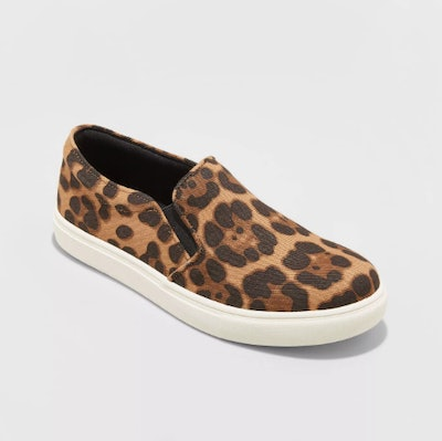 A New Day Women's Reese Faux Leather Leopard Print Sneakers