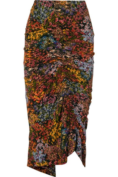 Aaliyah Ruched Floral-Print Stretch-Crepe Midi Skirt