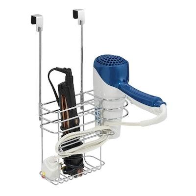 mDesign Over Door Hair Care & Styling Tool Organizer Basket