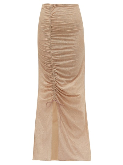 Lumière Ruched Metallic-Tulle Maxi Skirt