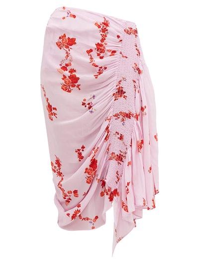 Mertilda Floral-Print Ruched Skirt