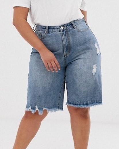 Current Air Long Line Raw Hem Denim Shorts
