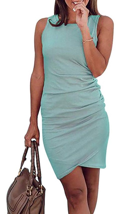 BTFBM Women's Casual Crew Neck Ruched Dress