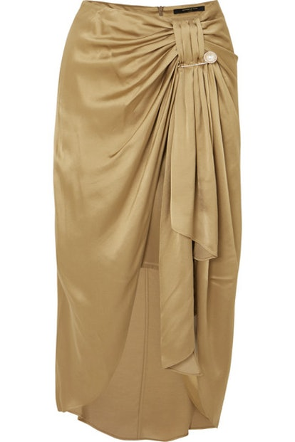 Emma Embellished Ruched Satin Miidi Skirt