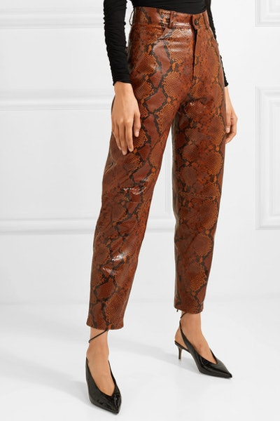 Snake-Effect Tapered Pants
