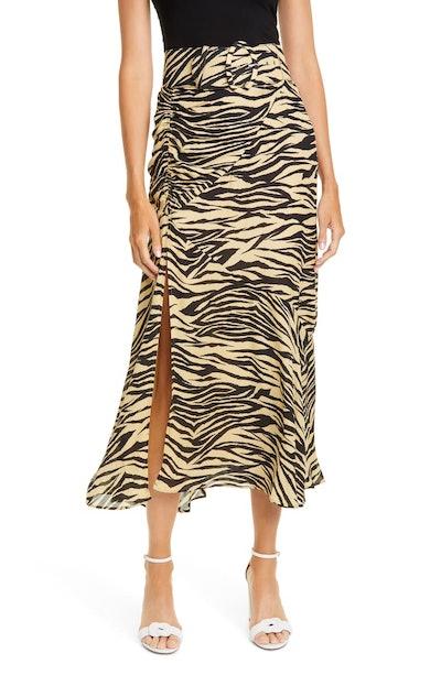 Side Gathered Silk Skirt