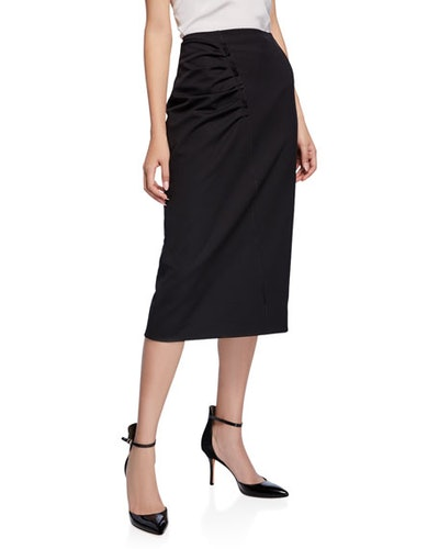 Ruched Stretch Suiting Skirt