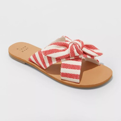 A New Day Women's Livia Striped Knotted Bow Slide Sandals