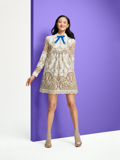Anna Sui for Target Women's Lace Long Sleeve Ribbon Detail Shift Mini Dress in Ivory