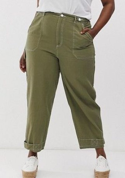 Utility Pants With Top Stitching And Tab Detail