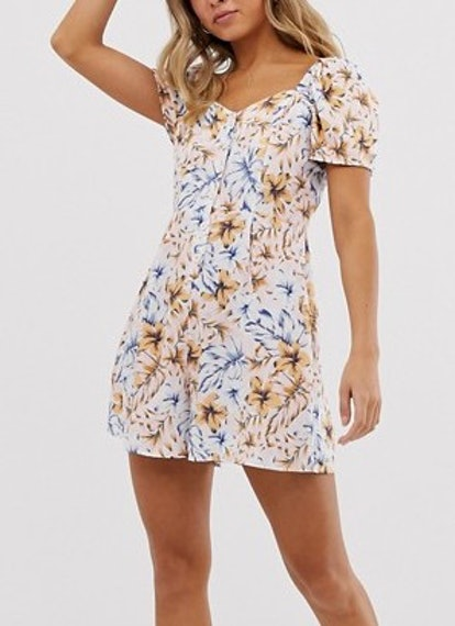 New Look Square Neck Button-Through Romper In Floral Print