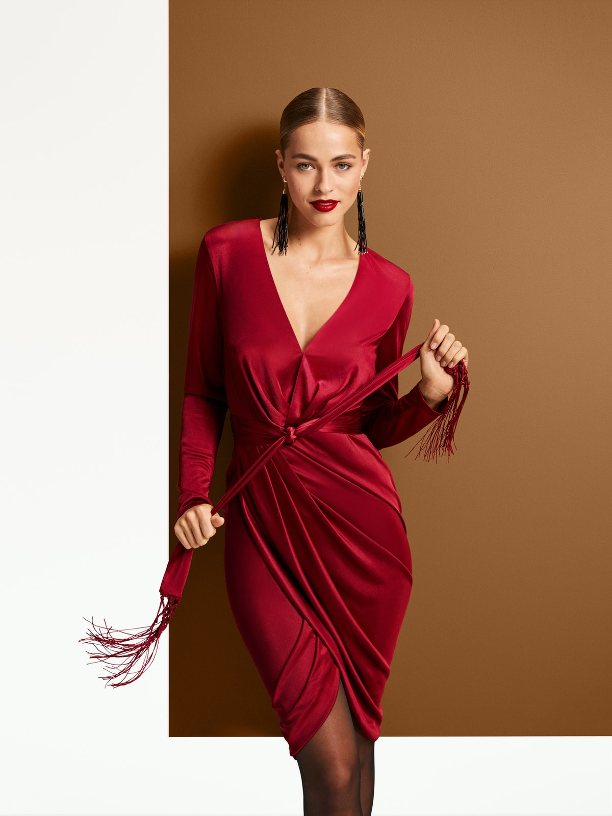 Altuzarra for Target Women's Long Sleeve Deep V-Neck Wrap Dress in Red
