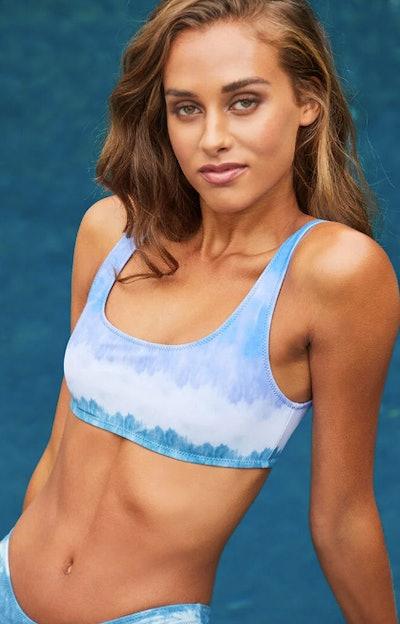 LA Hearts Megan Tie Dye Sporty Cropped Bikini Top