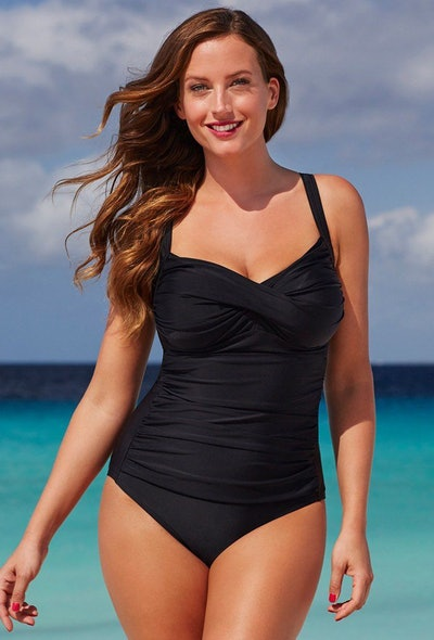 Black Ruched Sweetheart One Piece