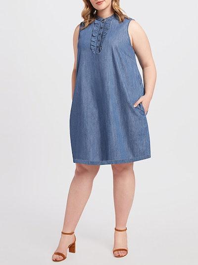 Belted Sleeveless Chambray Ruffle Shift Dress