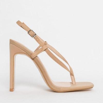 Cleo Nude Lycra Flip Flop Slim Back Heels