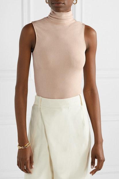Bevy Stretch-Jersey Turtleneck Thong Bodysuit