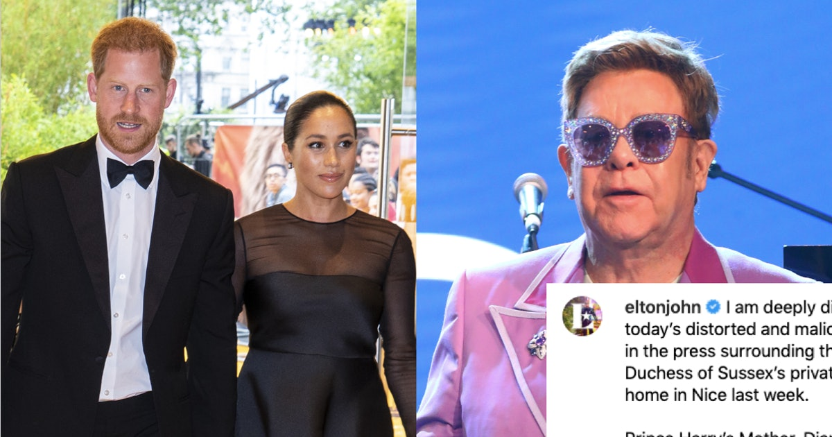 "Elton John Stood Up For Meghan Markle & Prince Harry Amid ""Relentless"" Attacks On Their Character"