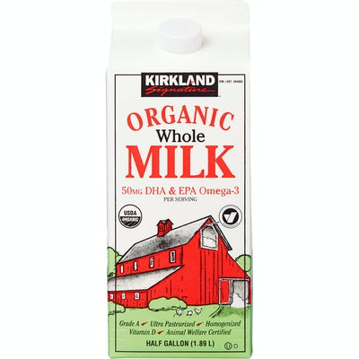 Kirkland Signature Organic Whole Milk, Half Gallon, 3 ct