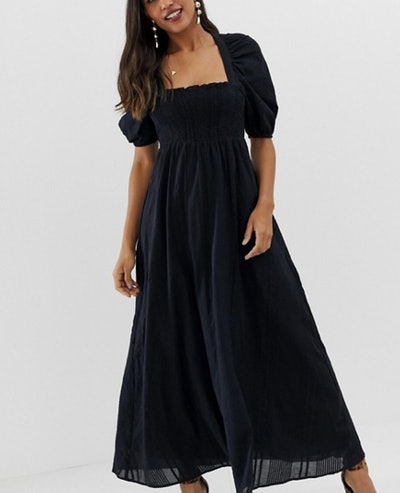 Curve Shirred Bustier Maxi Dress With puff Sleeve